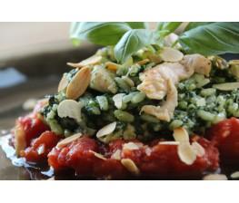 Risotto met kalkoen, spinazie en basilicum