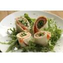 Voorgerecht: Wrap van zalm met groene asperge en dillesaus
